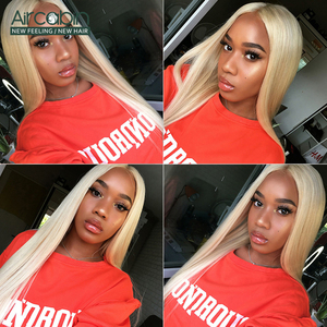 Image 5 - Aircabin 32 30 Inch Straight Lace Front Wigs 613 Blonde Color Brazilian Human Hair Lace Closur Wigs For Women Remy Hair Wigs