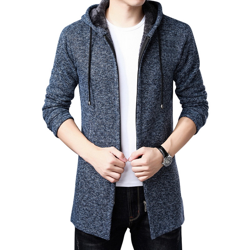 WENYUJH Men's Sweater Thick Warm Long Cardigan Men Hooded Sweater Coat With Cotton Liner Zipper Coats 2019 Autumn Winter News