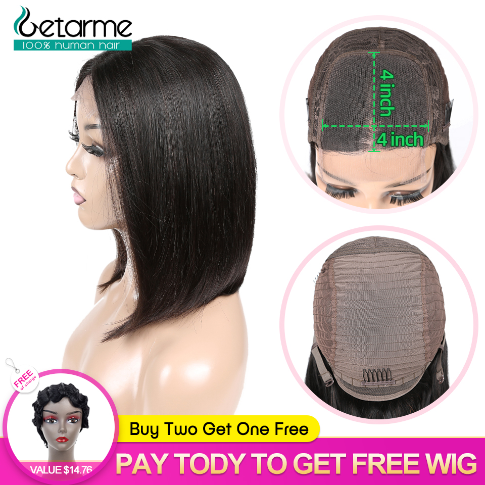 4x4 Lace Closure Wig Peruvian Straight Bob Wig Glueless Lace Closure Wig Human Hair Wigs For Black Women Low Retio Non Remy Wig