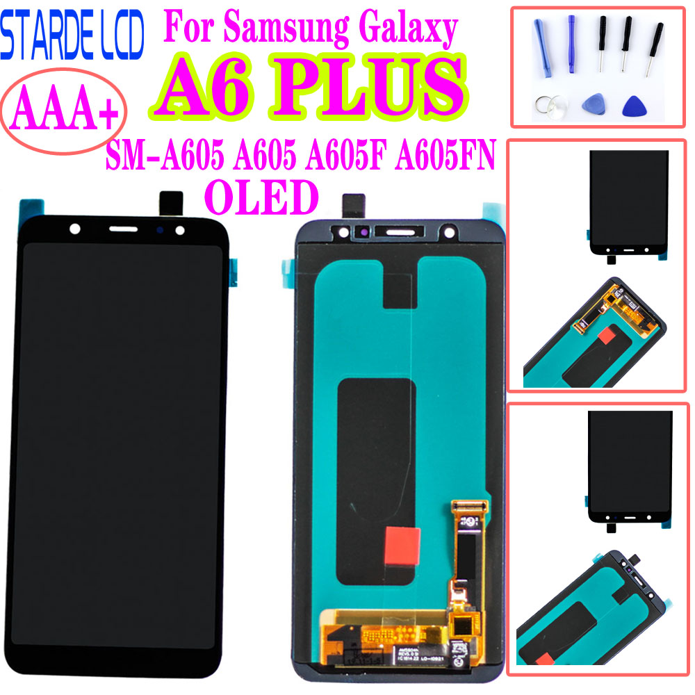 Super Amoled LCD Display For Samsung Galaxy A6+ A6 PLUS SM-A605 A605 A605F A605FN Display Touch Screen Digitizer Assembly Parts