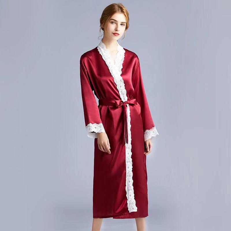 Женская пижама искусственный шелк кружевная сексуальная ночная рубашка большого размера Осенняя женская ночная рубашка с v образным вырезом халат ночная одежда on AliExpress - 11.11_Double 11_Singles' Day
