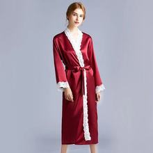 Women Pajamas Faux Silk Lace Sexy Nightdress Large Size Autumn Women V neck Nightgown Bathrobe Robe Nightwear Sleepwear