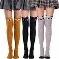 Гольфы до бедра с мультяшным котом, женские длинные носки, школьные стильные чулки для девочек, милые женские носки выше колена