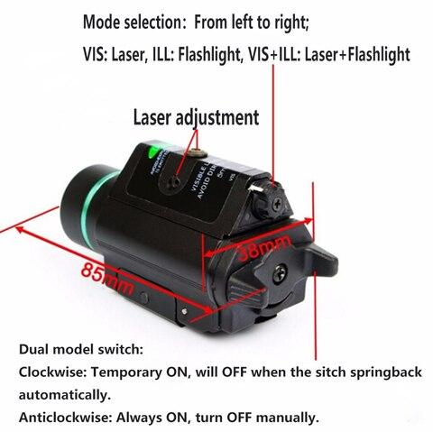led laser lanterna com 20mm ferroviario weaver