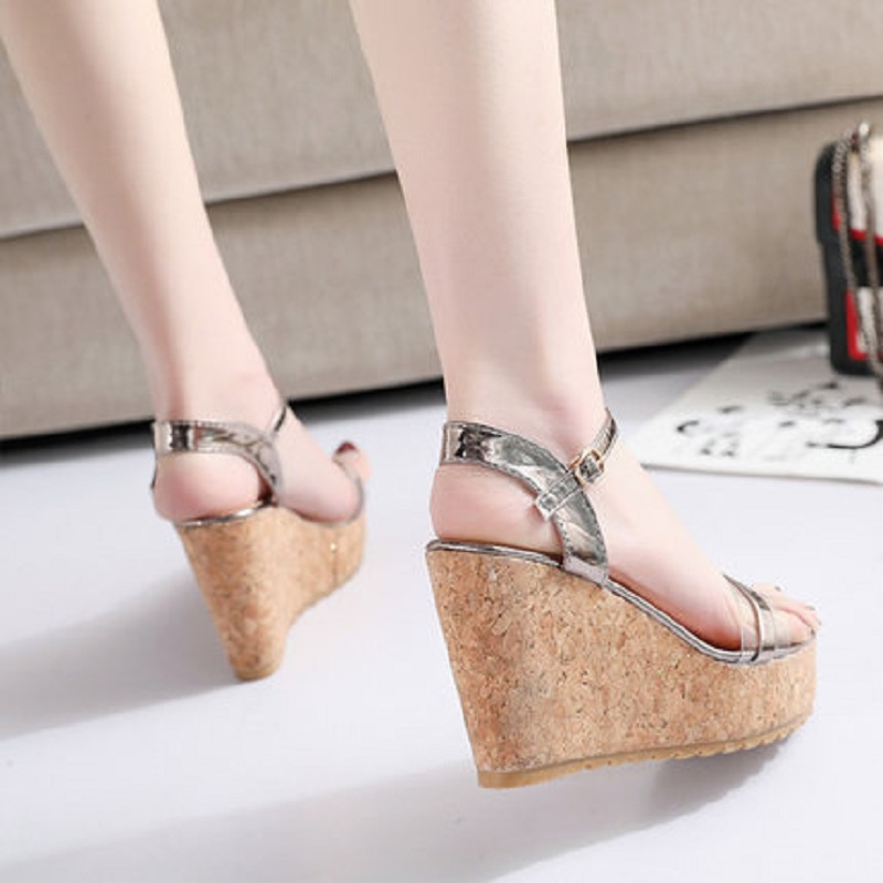 Sandals Female Wedge Women's Shoes A-Buckle Super-High-Heel Fashion New with Ins