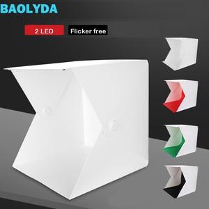 Image 1 - Baolyda 2LED Photo Light Box Photography Studio Soft Box Lighting 40cm Mini Fotostudio Fotografia Photobox with 4color Backdrops