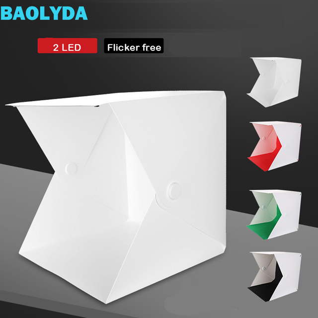 Baolyda 2LED Photo Light Box Photography Studio Soft Box Lighting 40cm Mini Fotostudio Fotografia Photobox with 4color Backdrops