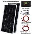 Полный комплект из жесткой стеклянной солнечной панели 100 Вт 200 Вт, 36 элементов солнечной батареи 125 мм * 125 мм 12 В 24 В для зарядки аккумулятора.