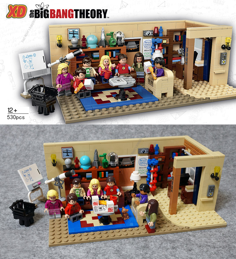 534Pcs The Big Bang Theory Leonard Sheldon's Living Room Model with Penny Figures Building Blocks Bricks Toys Compatible 21302 image