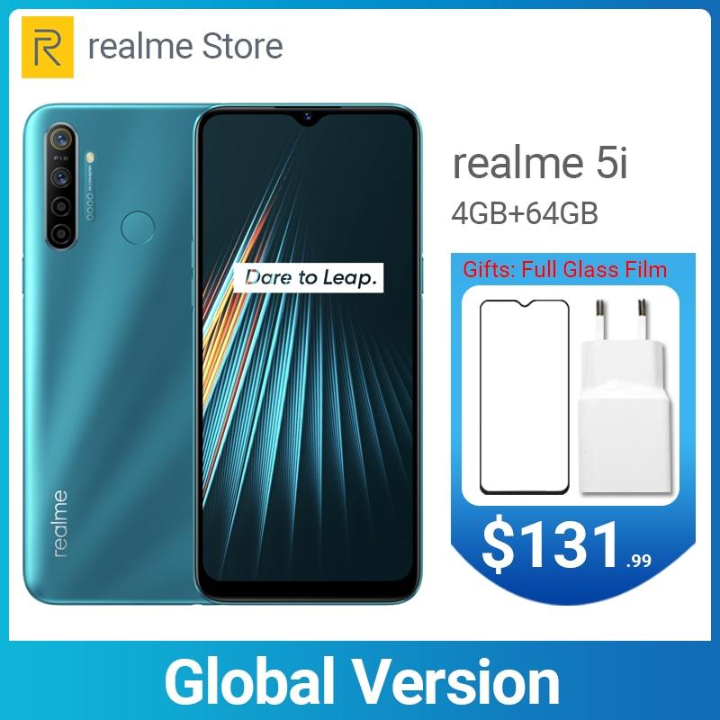 Realme 5i Global Version 4GB 64GB 6.5'' Moblie Phone Snapdragon 665 AIE 12MP Quad Camera Cellphone 5000mAh 10W EU Charger