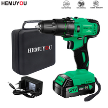 Electric-Drill 21v-Power-Tool Handheld Rechargeable Lithium Household 3/8-Inch-2-Speed