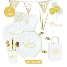 Eid mubarak louça descartável placa de papel copo papel toalha muçulmano festival ramadan mesa atmosfera decoração suprimentos