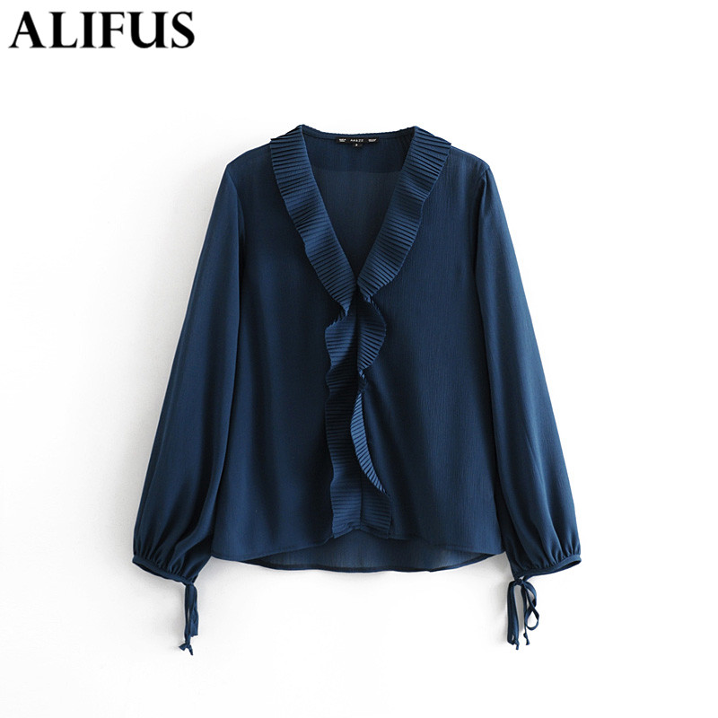Occident New Women Leather Splice Collar Real Silk Slim Loose Casual Shirts Tops