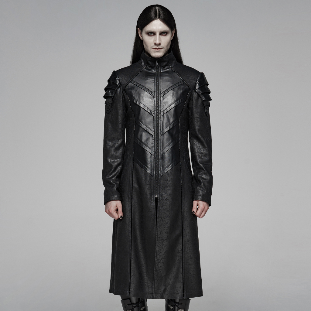 PUNK RAVE Men's Punk Handsome Military Uniform Long High Collar Jacket Stage Club Performance Personality Winter Mens Coat