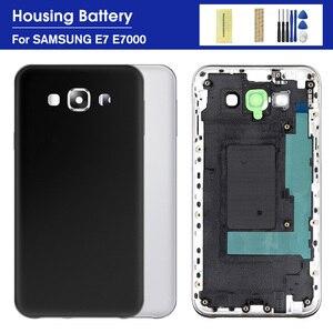 Full Housing case For Samsung Galaxy E7 E700 E700F Battery Back Cover Door Middle Frame Bezel +Camera Frame