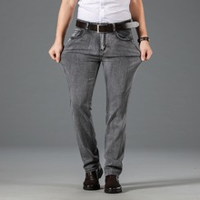 2020 Newly Fashion Classical Men Jeans Dark Gray Straight Fit Casual Business Pants Stretch Cotton Elastic Vintage
