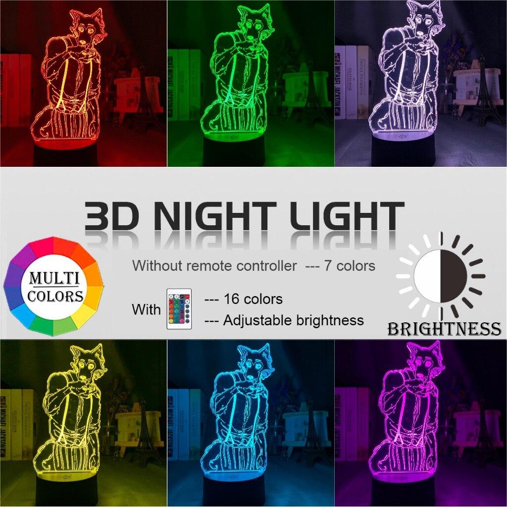 H6d696303397e4c0881e47c173a582cabS Luminária Beastars de mesa legosi acrílica 3d, luz noturna para decoração de quarto infantil, luz noturna para presente usb