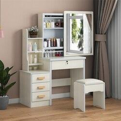 C918/C501 tocador Simple y moderno tablero de densidad para dormitorio o tocador con cajón con espejo taburete de bloqueo