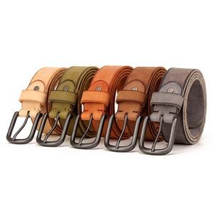 Image 5 - Top Cow genuine leather belts for men jeans Do old rusty black buckle retro vintage mens male cowboy belt ceinture homme