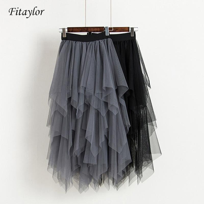 Fitaylor Tulle Skirts Women High Waist Mesh Skirt Hem Asymmetrical Pleated Midi Skirt Female Slim Black Casual New Summer Skirts