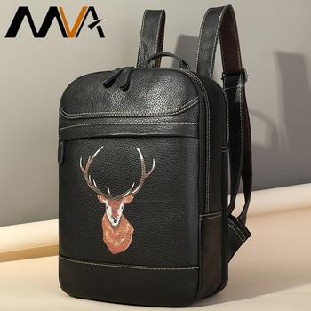 MVA School Bags For Women's Genuine Leather Backpack Women bag Backpack female 14inch Laptop Schoolbags girl travel Rucksack