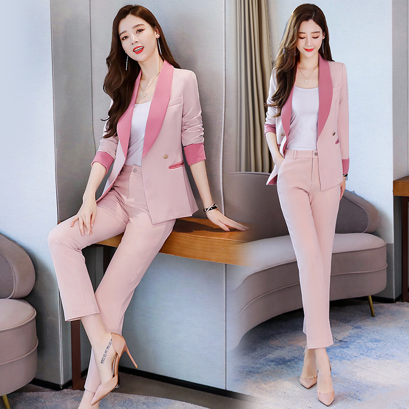 Business women's suits pants suit high quality 2019 new autumn slim long-sleeved pink blazer female Office long sleeve two-piece 29