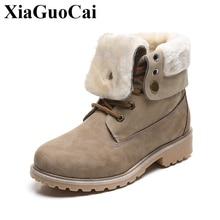 купить Large Size Women Snow Boots with Fur Warm Fleeces Winter Cotton Shoes Platform Retro Stylish Solid Martin Boots Anti-skid Design дешево