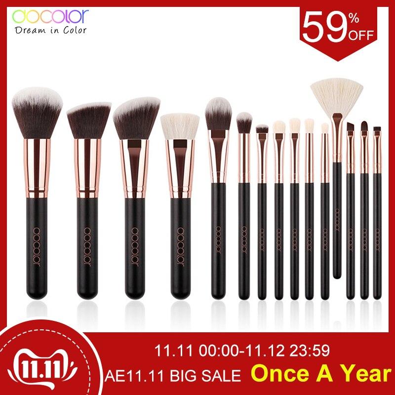 Docolor 11/15 pçs pincéis de maquiagem profissional pó fundação sombra compõem escovas cosméticos escovas macio cabelo sintético