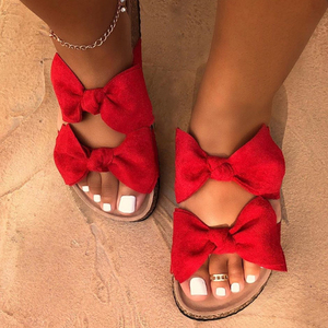 2020 Women Sandals Shoes Summer Flat Sandals Bow-Knot Comfort Retro Anti-Slip Beach Shoes Platform Slide Plus Size Zapatos Mujer(China)