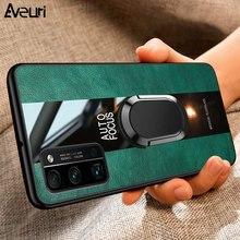 Caso de telefone de couro de luxo para huawei y5p y6p y7p y8p y9a silicone capa para honor view 20 30 pro plus 8 9 10 lite 20s 30s