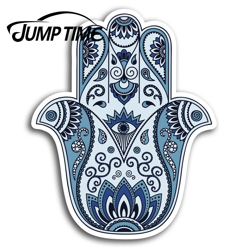 Jump Time For Hamsa Hand Vinyl Decal Sticker Religion All Seeing Eye Spiritual Decal Rear Windshield Waterproof Car Accessories