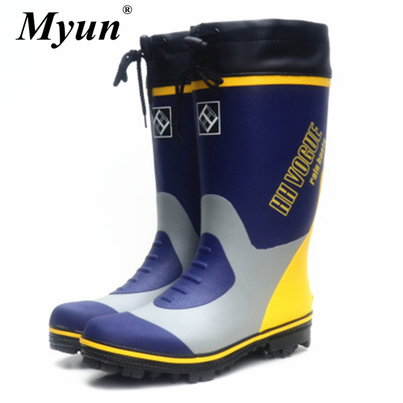 Rain Boots Men Winter Fishing Hunting Boots Work Antiskid Rubber Shoes Galoshes Waterproof Shoes Plush Keep Warm Snow Boots