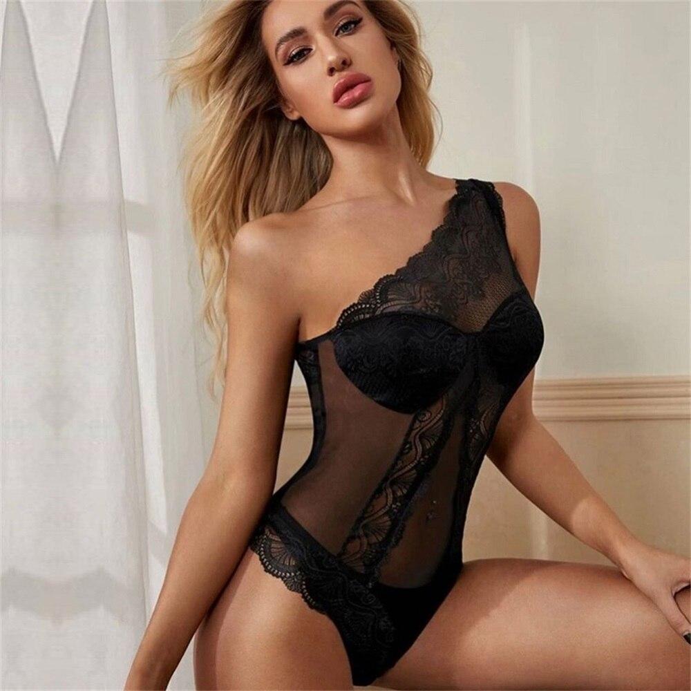 Body Sexy en dentelle pour femmes, moulante transparente