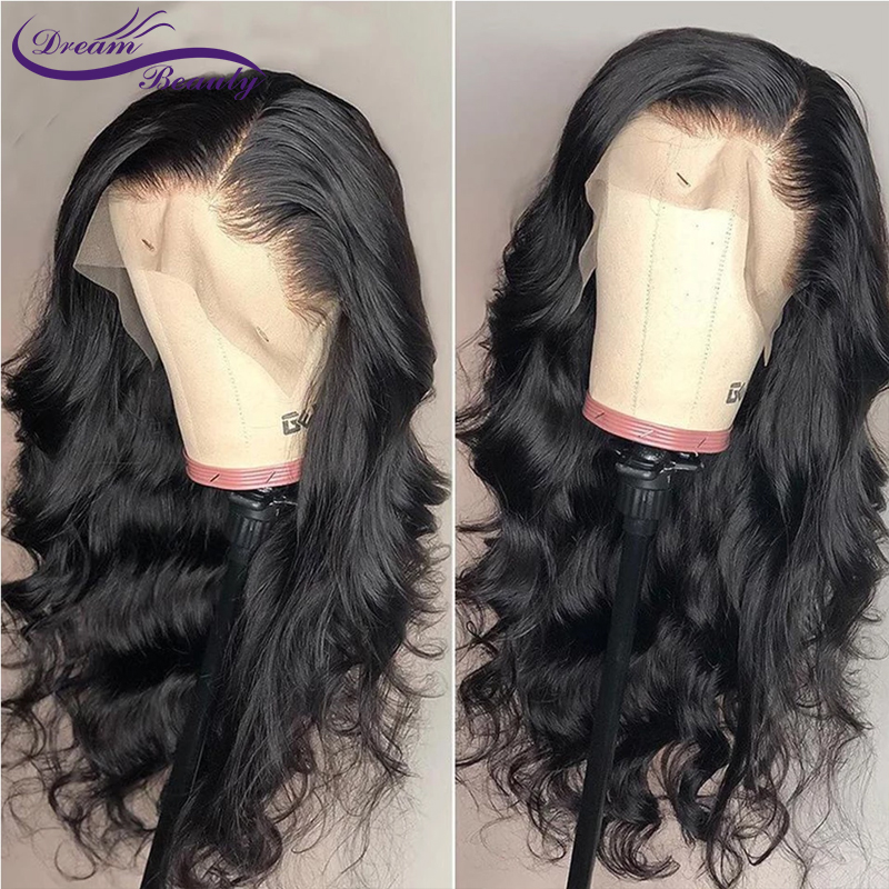 Fake Scalp Wig 13x6 Deep Lace Front Human Hair Wigs Brazilian Remy Wavy Hair PrePlucked Bleached Knots Medium Ratio Dream Beauty