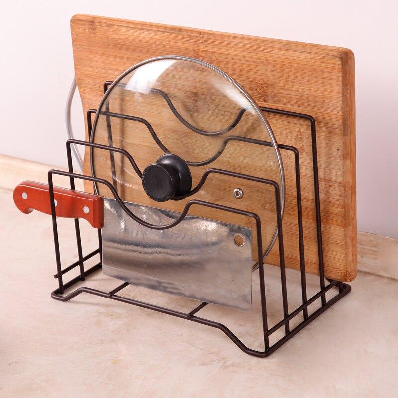 Kitchen Shelf Pan Rack Cutting Board Holder Storage Pot Lid Organizer Stands Tapas Cover Stand Stainless Steel Dish Kitchen Rack|Racks & Holders| |  -