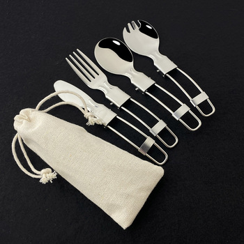 Silver Reusable Folding Dinnerwa Cutlery Set Camping Flatware for Picnic Hiking 304 Stainless Steel Silverware Outdoor Cooking image