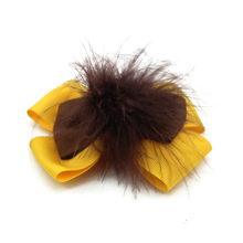 Adogirl 10 pcs Beautiful Bow-knot Feather Layered Bowknot Hair Bows for Girls Women Handmade Grosgrain Ribbon Boutique Headwear