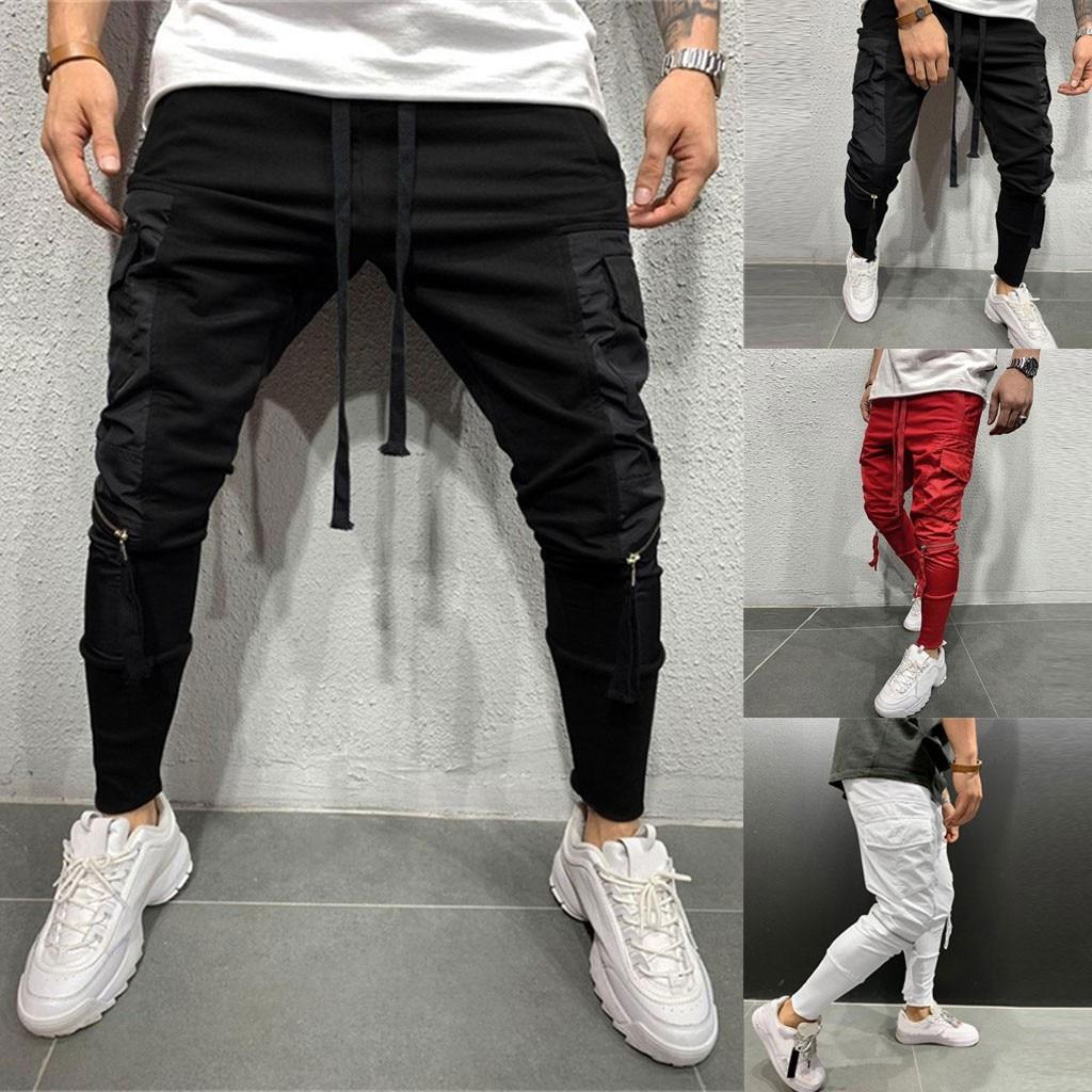 Men Zipper Pure Overalls Casual Pocket Sport Work Casual Trouser Pants Pantalones Hombre Streetwear Joggers Hip Hop Sweatpants