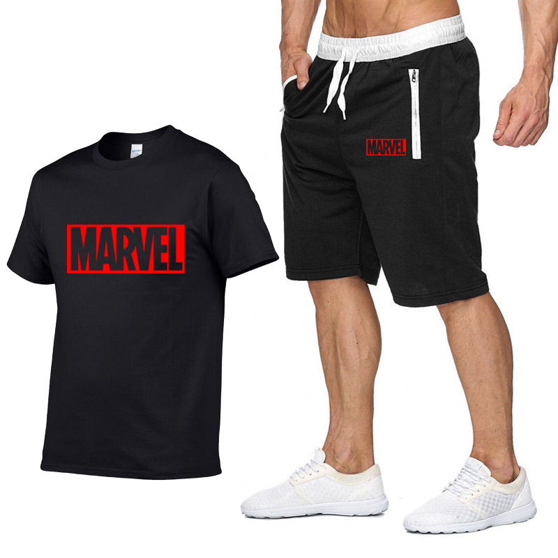 New Summer New Sale Men's Sets T Shirts+Shorts Two Pieces Sets Casual Tracksuit MARVEL Brand Tshirt Gyms Fitness Sportswears Set