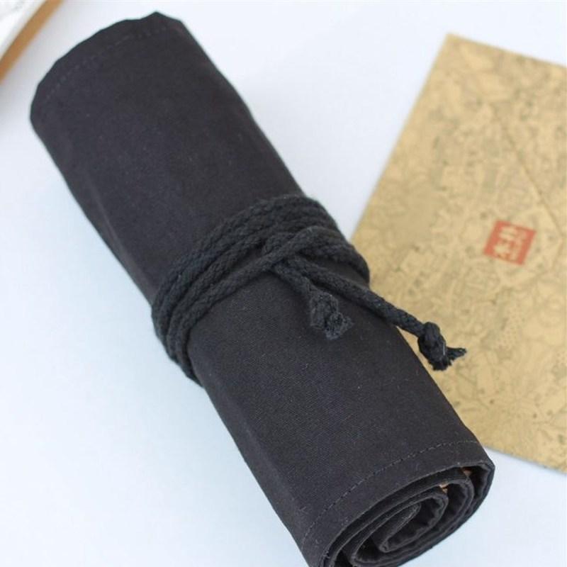 New Paint Brush Bag Cases Pure Cotton Black Canvas Large Capacity Color Pencil Bag School Arts Supplies Estojo Escolar Papelaria