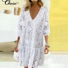 Celmia 2020 Bohemian Lace Crochet Dress Women Summer Sundress Fashion Mini Vestidos Female Casual V Neck Party Shirt Robe 5XL