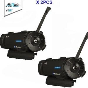 Image 1 - 2PCS 1000m Airide R2  Motorcycle Bluetooth Helmet Group Intercom Headset FM Radio MP3 Voice  Command Handsfree BT Interphone