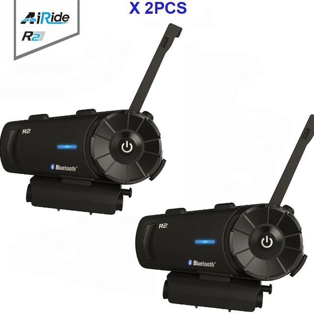 2PCS 1000m Airide R2  Motorcycle Bluetooth Helmet Group Intercom Headset FM Radio MP3 Voice  Command Handsfree BT Interphone