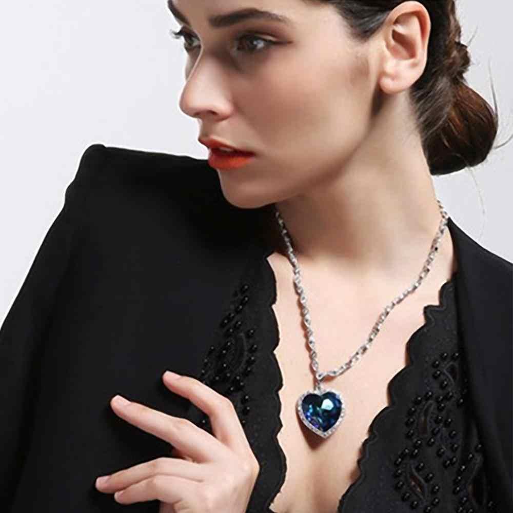 Neoglory Cuore di Ocean Blue Cuore Collana Attacco Titanic Collana per San Valentino impreziosito da Cristalli Swarovski