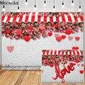 Mocsicka Valentinstag Rose Shop Fotografie Kulissen Liebe Herz Decor Weiße Ziegel Wand Foto Requisiten Studio Booth Hintergrund