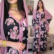 AB074 Long Dress Black With Pink Floral Abaya 2021 Woman Khimar Muslim Female Jalabiya Arabic Party Clothing World Apparel Store
