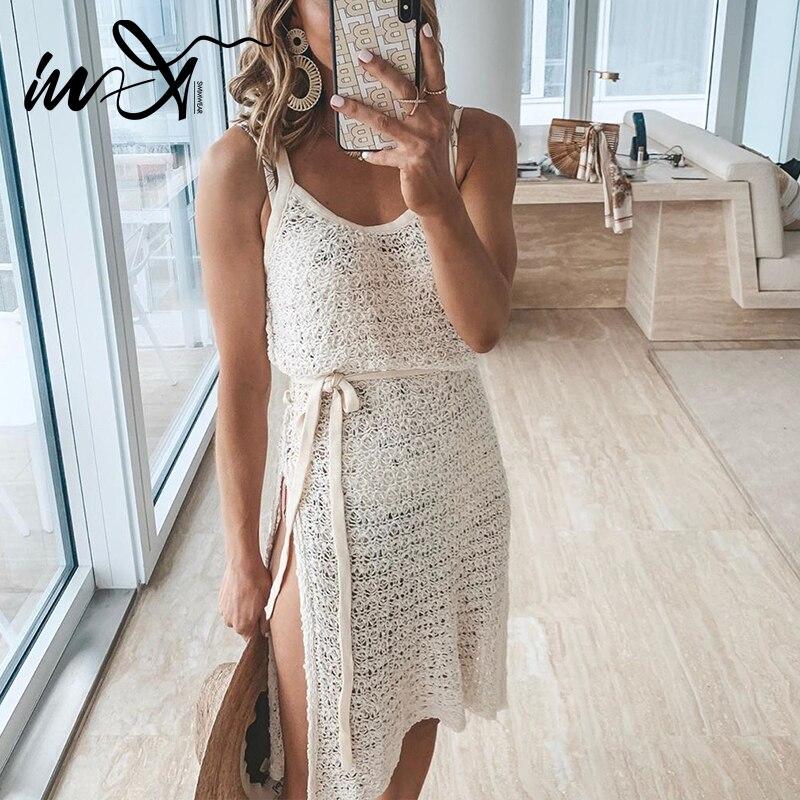 In-x verão crochê vestido de praia longa mulher tamanho grande maiô cover ups cinto feminino roupa de banho praia transparente cobrir
