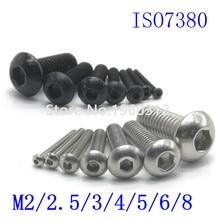 Screw Button-Head Allen Bolt Hex-Socket Round Stainless-Steel 5-50pcs Black M8 ISO7380