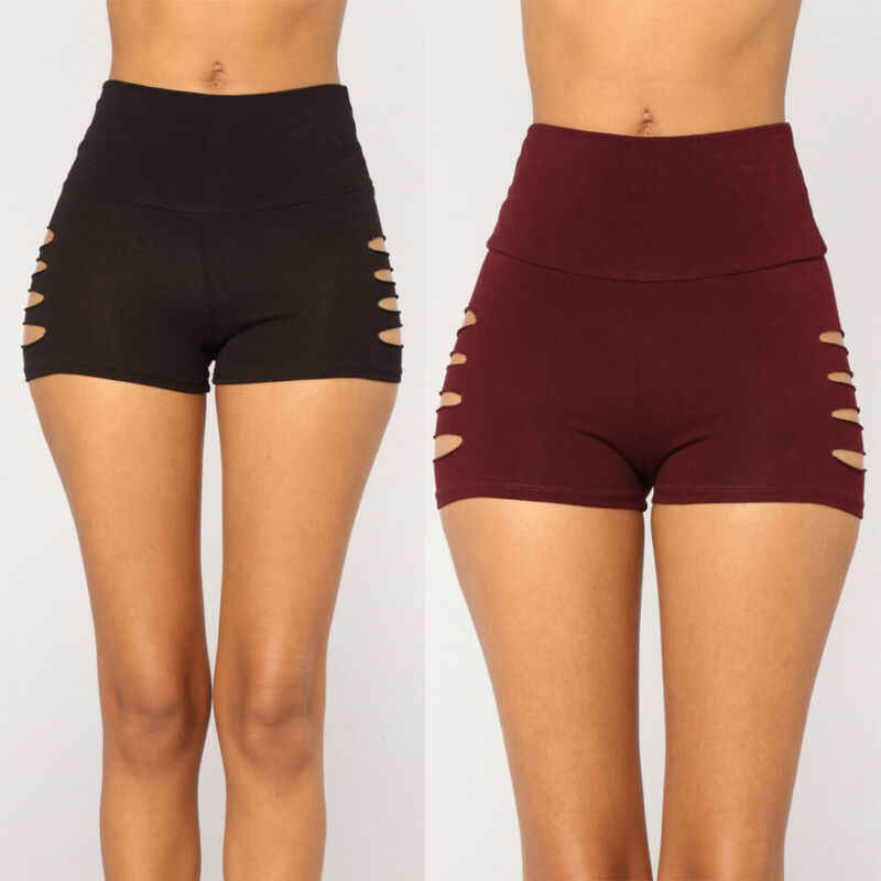2019 HOT Women Sports Yoga Shorts Solid Color Stretch Bodycon Gym Workout Push Up Lift Fitness Leggings Shorts High Waist