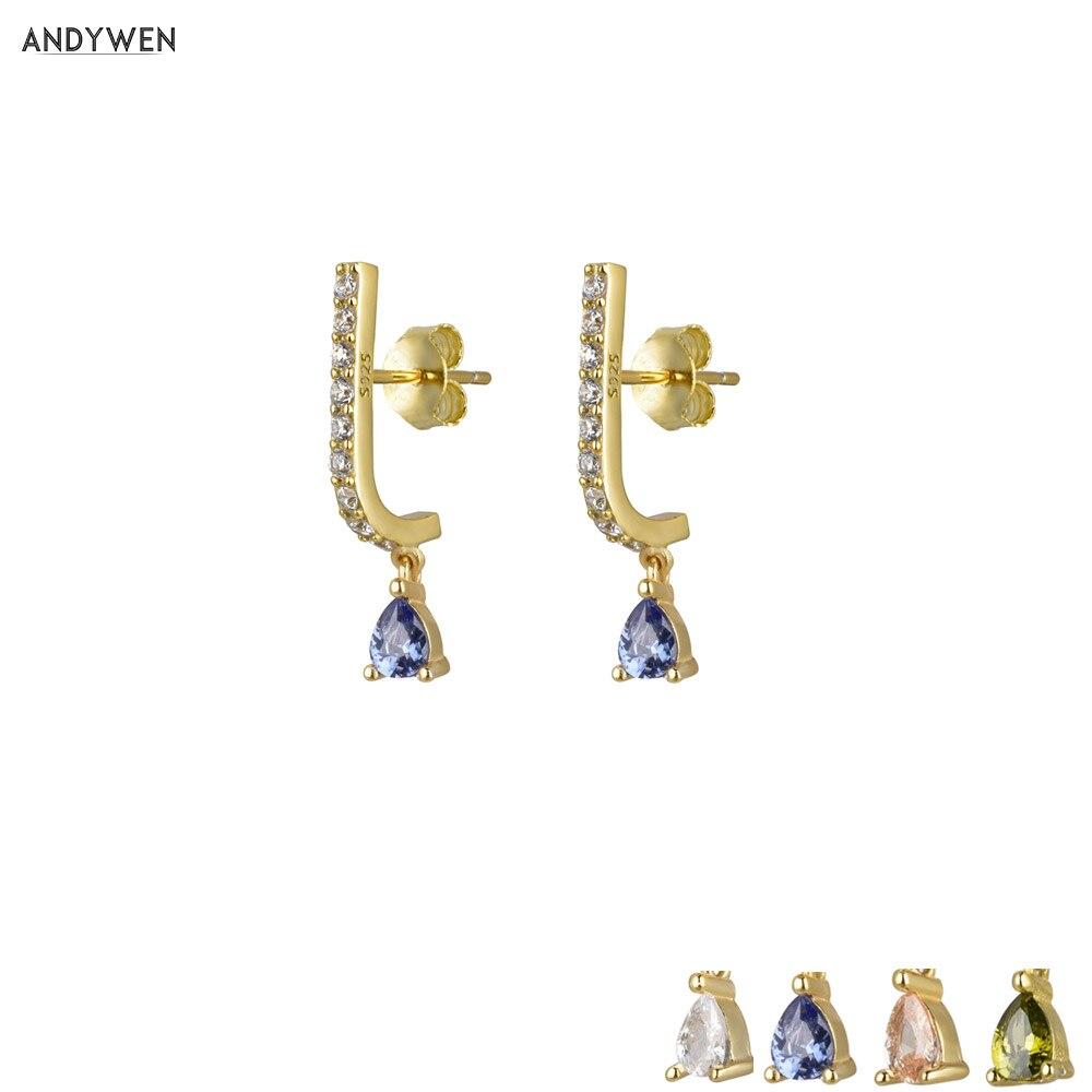 Andywen 925 prata esterlina azul cristal gota brinco cor especial zircon cz cristal 2020 moda feminina jóias de luxo